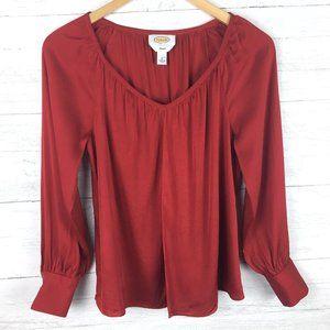 Talbots Stretch Women's Red Silk Blend Blouse